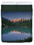 Emerald Lake At Sunrise Hour Duvet Cover