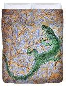 Emerald Lizard Duvet Cover