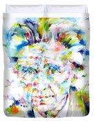 Emil Cioran - Watercolor Portrait Duvet Cover