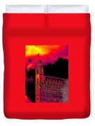 Emily Morgan Hotel With Fiery Sky Duvet Cover