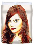 Emma Stone Portrait Colored Pencil Duvet Cover