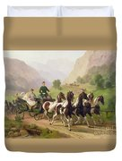 Emperor Franz Joseph I Of Austria Being Driven In His Carriage With His Wife Elizabeth Of Bavaria I Duvet Cover