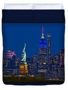 Empire State And Statue Of Liberty II Duvet Cover