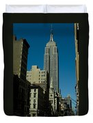 Empire State Building Seen From Street Duvet Cover