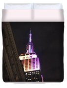 Empire State Building With A Light In A Window Duvet Cover