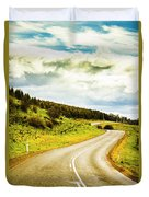 Empty Asphalt Road In Countryside Duvet Cover