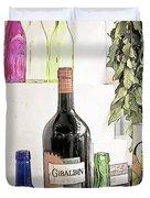 Empty Bottles And Laurel Bouquet Still Life Duvet Cover by Heiko Koehrer-Wagner