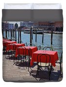 Empty Canal Side Tables Awaiting Hungry Customers In Venice, Italy  Duvet Cover