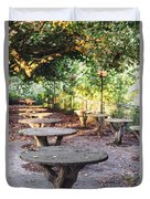 Empty Picnic Tables In The Early Fall With Fallen Leaves Duvet Cover