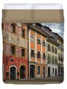 Empty Street In Slovenia Duvet Cover