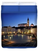 Empty Tartini Square In Piran Slovenia With Courthouse, City Hal Duvet Cover