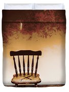 Empty Wooden Chair With Cross Sign Duvet Cover