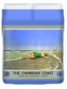 England Cambrian Coast Vintage Travel Poster Duvet Cover