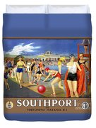England Southport Restored Vintage Travel Poster Duvet Cover