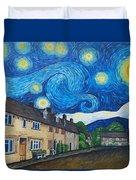 English Village In Van Gogh Style Duvet Cover