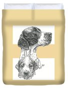 English Pointer And Pup Duvet Cover