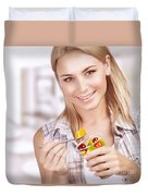 Enjoying Healthy Nutrition Duvet Cover