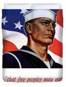 Enlist In Your Navy Today - Ww2 Duvet Cover