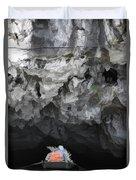 Entering Cave Boat Vietnam  Duvet Cover