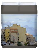 Entering Cefalu In Sicily Duvet Cover