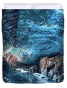 Entering The Ice Cave Duvet Cover