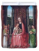Enthroned Virgin And Child, With Angels Duvet Cover