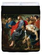 Entry Of Christ Into Jerusalem Duvet Cover