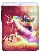 Epic Space Sloth Riding On Unicorn Duvet Cover