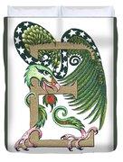 Epsilon Eagle In Green And Gold Duvet Cover