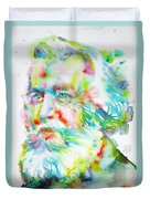 Ernst Haeckel - Watercolor Portrait Duvet Cover