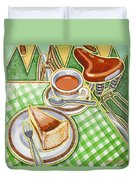 Eroica Britannia Bakewell Pudding And Cup Of Tea On Green Duvet Cover