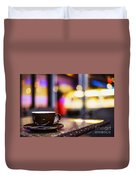 Espresso Coffee Cup In Cafe At Night Duvet Cover