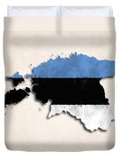 Estonia Map Art With Flag Design Duvet Cover