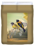 Ethereal Birds On Snowy Branch Duvet Cover