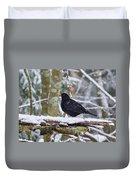 Eurasian Blackbird In The Snow Duvet Cover