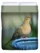 Mourning Dove On Birdbath Duvet Cover