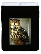 Eurasian Eagle-owl With Oil Painting Effect Duvet Cover