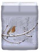 European Robin On Snowy Branch Duvet Cover
