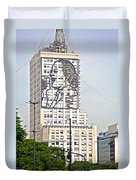Eva Peron Outlined On The Wall Of A Skyscraper On July Nine Avenue  In Buenos Aires-argentina Duvet Cover