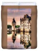 Evening At Chenonceau Castle Duvet Cover