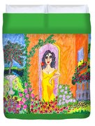 Evening At The Girl Cave Duvet Cover