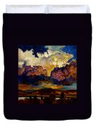 Evening Clouds Over The Valley Duvet Cover