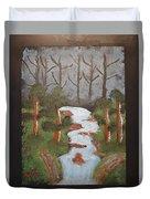 Evening Forest Waterfall Duvet Cover