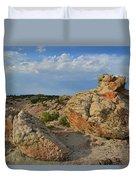 Evening Light On Boulders Of Bentonite Site Duvet Cover