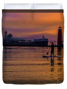 Evening On Lake Michigan At Grand Haven Duvet Cover