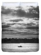 Evening On South River - Bw Duvet Cover