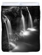 Evening Plunge Waterfall Black And White Duvet Cover