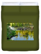 Evening Reflections At Lower Basswood Falls Duvet Cover