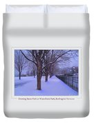 Evening Snow Path At Waterfront Park Burlington Vermont Poster Greeting Card Duvet Cover