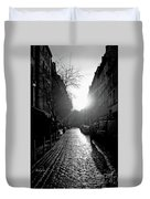 Evening Walk In Paris Bw Duvet Cover